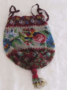 Antique Drawstring Silver Red Blue Maroon Floral Garden Micro Bead Purse Tassels #Drawstring
