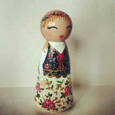 Little Polish doll in the traditional costume of Krakow by handpaintedloveboxes.etsy.com