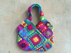 The other side of the slightly smaller practically perfect granny square bag