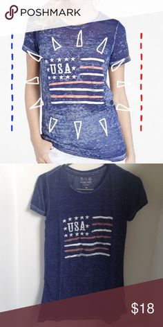 {threads 4 thought} usa 🇺🇸 flag shirt xs NWT {threads 4 thought} usa 🇺🇸 flag shirt xs NWT. Cotton/poly blend. Lightweight distressed look. Threads 4 Thought Tops Tees - Short Sleeve