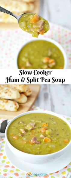 Slow Cooker Split Pea Soup Recipe Slow Cooker Split Erbsensuppe Rezept – The Rebel Chick Easy Split Pea Soup, Yellow Split Pea Soup, Split Pea Soup Recipe, Split Pea Slow Cooker Recipe, Pea Soup Crockpot, Slow Cooker Soup, Slow Cooker Recipes, Cooking Recipes, Crockpot Recipes