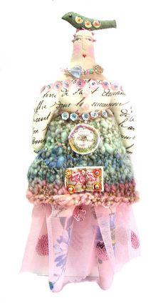 Whimsical Textile Art Doll With A Hand Sewn Bird On Top Of Her Head Boho Cloth Doll Wearing A Hand Spun Hand Knit Skirt