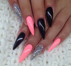 gliterry black and pink nails