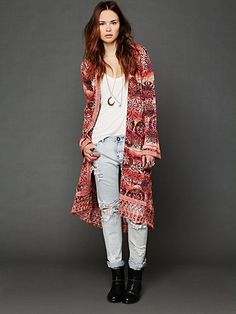 Free People Fresh Florals Fringe Cardigan at Free People Clothing Boutique