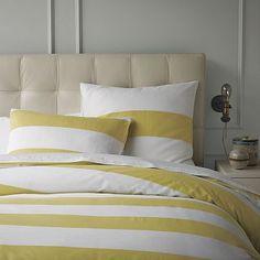 West elm Modern Duvet Covers, White Duvet Covers, Modern Bedding, Luxury Bedding, Bedroom Colour Palette, Bedroom Colors, West Elm Duvet, Yellow Duvet, Striped Bedding