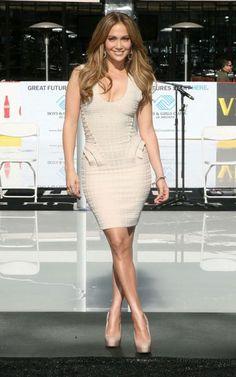 df62d20c07bb Herve Leger Jennifer Lopez U Neck Bandage Dress Nude