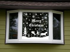 Outdoor Christmas Snowy Snow Scene Vinyl Lettering Window Kit Choice 3 Designs Decoration
