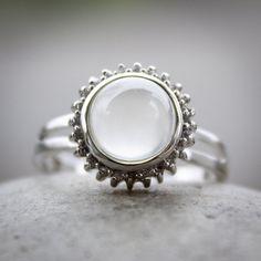 Silver White Moonstone Ring - 925 Sterling Silver, June Birthstone Ring