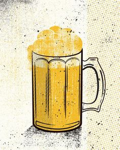 Beers Yellow Set by twoarms on Etsy Food Illustrations, Illustration Art, Beer Week, Beer Poster, Photocollage, Brew Pub, Beer Festival, How To Make Beer, Layout Inspiration