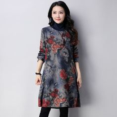 3d08969bd09 new fashion cotton woolen vintage print plus size women casual loose autumn  winter dress vestidos femininos dresses 2018-in Dresses from Women s  Clothing ...