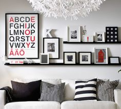 From Ikea-decorating.  Picture ledge inspiration/decoration.