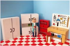 Toy Garage  miniature -Joe's Garage  6 pieces 124 scale by a4table, $30.00