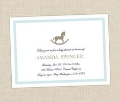 Rocking Horse Shower Invitation from Brown Paper Studios.