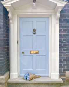 Absolutely a-door-able in What does your dream entrance look like? Tell us in the comments. House Design, House, House Front, Old School House, Farrowandball, Tall Cabinet Storage, Blue Door, Farrow Ball, Doors