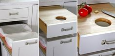 A cutting board drawer with a convenient waste chute over a slice-out compost bin.