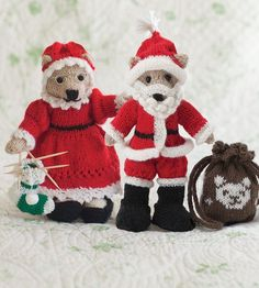 Free Knitting Pattern for Mr. and Mrs. Bear Claus - Free with a free trial at Creativebug. Teddy bears dressed as Santa and Mrs. Claus. Pattern available for free with a free trial at Creativebug. Designed by by Noreen Crone-Findlay. Note that link is to a page of patterns, both knitting and crochet. This listing is toward the bottom of the page.