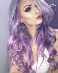 Lilac purple hair color ✥ purple hair в 2019 г. hair color p Hair Color Highlights, Hair Color Balayage, Ombre Hair, Different Hair Colors, New Hair Colors, Arctic Fox Hair Color, Hair Color Purple, Dark Purple, Silver Purple Hair