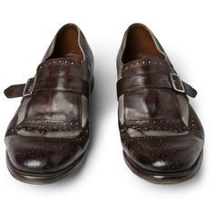 'Church's'loafers. These leather and linen canvas panelled loafers are a reissue of shoes that were designed in 1929 for Englishmen living abroad. Neat looking shoe!