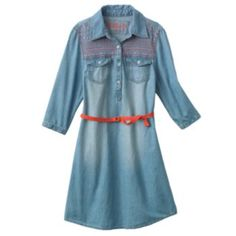 Mudd Chambray Shirt Dress - Girls 7-16, Kohl's. Would be so cute with boots!