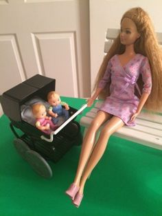 Happy Family Pregnant Midge Barbie Doll + Twin Babies + Baby Carriage NO Bump #Mattel #BarbieDolls