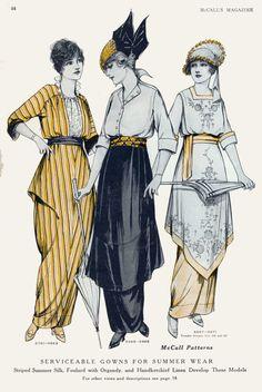 Vintage Fashion Plates from 1914 1918 Fashion, Arte Fashion, Fashion History, Retro Fashion, Vintage Fashion, French Fashion, Ladies Fashion, Edwardian Clothing, Edwardian Dress