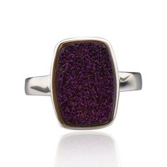 FD Sterling Silver Rectangle Druzy Ring