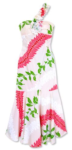 Gorgeous island print in an unique feminine design...it's the Kauai Cream Hawaiian Dress @ Lavahut