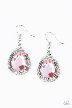 Grandmaster Shimmer Pink Earrings A faceted pink teardrop gem is pressed into a shimmery silver frame radiating with studded details and glittery white rhinestones for a magnificent look. Earring attaches to a standard fishhook fitting. Amethyst Earrings, Amethyst Crystal, Silver Earrings, Bts Earrings, Tiny Earrings, Paparazzi Accessories, Paparazzi Jewelry, Shimmer Lights, Black Rhinestone