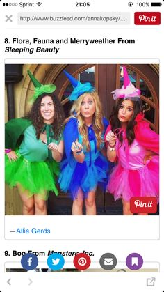 Be like Cinderella at the ball at your party with one of these seriously magical Disney Halloween costumes. Whether you're giddy to be a princess or one of the more unique Disney costumes, we found both dressed-to-the-nines and DIY ideas for you. Costume Halloween Trio, Costumes Halloween Disney, Halloween Mignon, Cute Group Halloween Costumes, Fete Halloween, Halloween Outfits, Disney Group Costumes, Family Halloween, Friend Costumes
