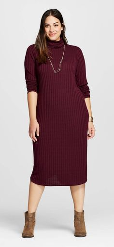Plus Size Rib Knit Midi Dress