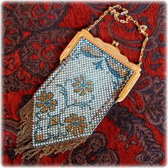 25% off entire shop sale ends TODAY, Dec.17th, including this Mandalian Blue Flower Design Metal Mesh Purse - 1920's Era