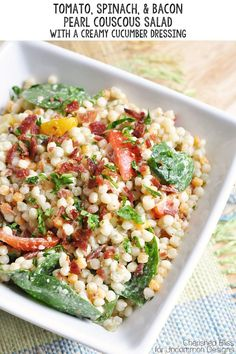 Better start practicing for the perfect salad! Tomato Spinach & Bacon Pearl Couscous Salad with Creamy Cucumber Dressing Pearl Couscous Salad, Couscous Salat, Pearl Couscous Recipes, Lebanese Recipes, Soup And Salad, Pasta Salad, Cucumber Dressing, Cucumber Salad, Flavored Water Recipes