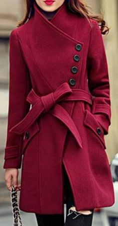 Sweet Buttons! Elegant Stand Collar Candy Red Color Belt Design Long Sleeve Winter Coat Fashion For Women #Candy #Red #Winter #Coat #Fashion #Black #Buttins #Design #Ideas
