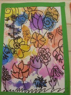 Kevätkukkaset, tulppaani, narsissi. Lyijykynällä, vahvistus mustalla tussilla, kukat sekaisin. Maalaus silkkipaperilla; siveltimellä ja silkkipaperilla töpöttämällä. 3.lk AHP