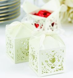 Square, Decorative Ivory Favor Boxes - Ivory shimmer favor boxes with ornate, die-cut heart design. Package of 25 Wedding Favor Boxes, Unique Wedding Favors, Favour Boxes, Wedding Ideas, Wedding Stuff, Dream Wedding, Wedding Gifts, Lace Wedding, Wedding Planning