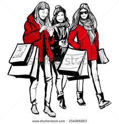 Three young fashionable women shopping - vector illustration - stock vector