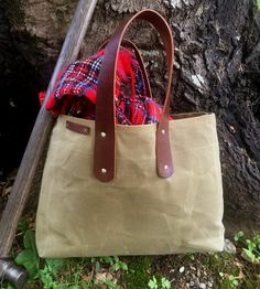 Market Waxed Canvas & Leather Tote Bag by AllOut Adventure Supply Co.