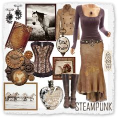 """Modern yet good Ol' Fashoined Cowgirl"" by ggulan on Polyvore   I LOVE STEAMPUNK SO MUCH!!!!!!!!"