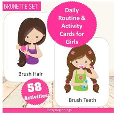 Daily Routine & Activity Cards for Girls by Bittybeginnings