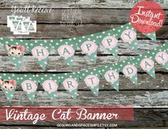 If you are having a Kitty Party, this banner is  the perfect addition to your Cat Party Decor! The Matching Vintage Cat Invitation is available in my shop as well as other decor!