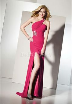 Informal Long Sheath/ Column Natural Waist One Shoulder Prom Night Dress