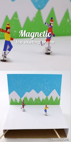 Create an ice skating theatre with magnetic twirling skaters from a cereal box. This is a fun DIY toy idea and makes an interesting Winter STEM craft for kids. Such a fun kids activity! for kids winter Magnetic ice skating craft Winter Crafts For Kids, Paper Crafts For Kids, Diy For Kids, Projects For Kids, Cardboard Crafts, Craft Activities For Kids, Preschool Crafts, Toddler Crafts, Toddler Toys