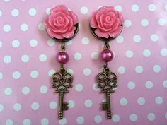 Hey, I found this really awesome Etsy listing at https://www.etsy.com/listing/195261594/rose-pearl-key-charm-plugs-earrings-6