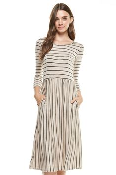Explore our lineup of modest dresses including modest maxi dresses, modest midi dresses, vacation dresses, evening dresses and more. Modest Dresses For Women, Modest Maxi Dress, Casual Day Dresses, Clothes For Women, Ethical Clothing, Vacation Dresses, Modest Fashion, Striped Dress, New Dress