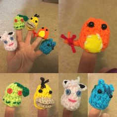 Pokemon knitted finger puppets