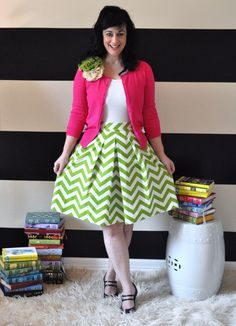Chevron Skirt Green and White full gathered and pleated skirt custom sizes x-small small medium large x-large plus size