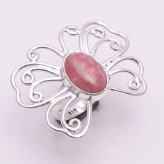 925 Sterling Silver Ring US Size7, Natural Rhodochrosite Gemstone Jewelry CR1992 #Handmade #Cocktail