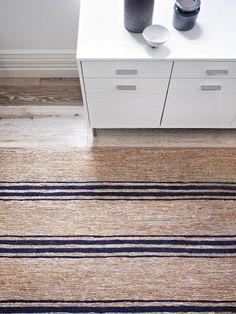 Indigo Ticking Stripe River - Armadillo Floor Rug