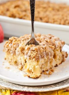 Apple Crumb Coffee Cake Tender butter cake is studded with apples and covered in cinnamon crumb topping. This coffee cake can be enjoyed for breakfast or dessert! 13 Desserts, Apple Desserts, Apple Recipes, Baking Recipes, Delicious Desserts, Cake Recipes, Yummy Food, Cheese Recipes, Brunch Recipes