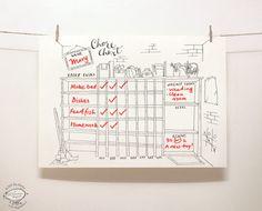 DOODLE Chore Chart / organizador Tareas de puestos por SkyGoodies